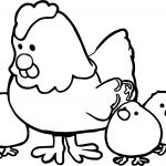 Hen And Chicks Cartoon Coloring Page