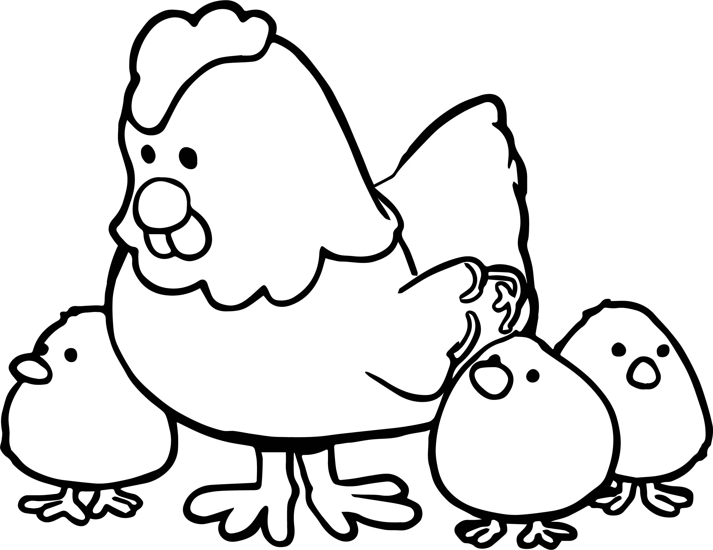 coloring pages chicken - hen and chicks cartoon coloring page