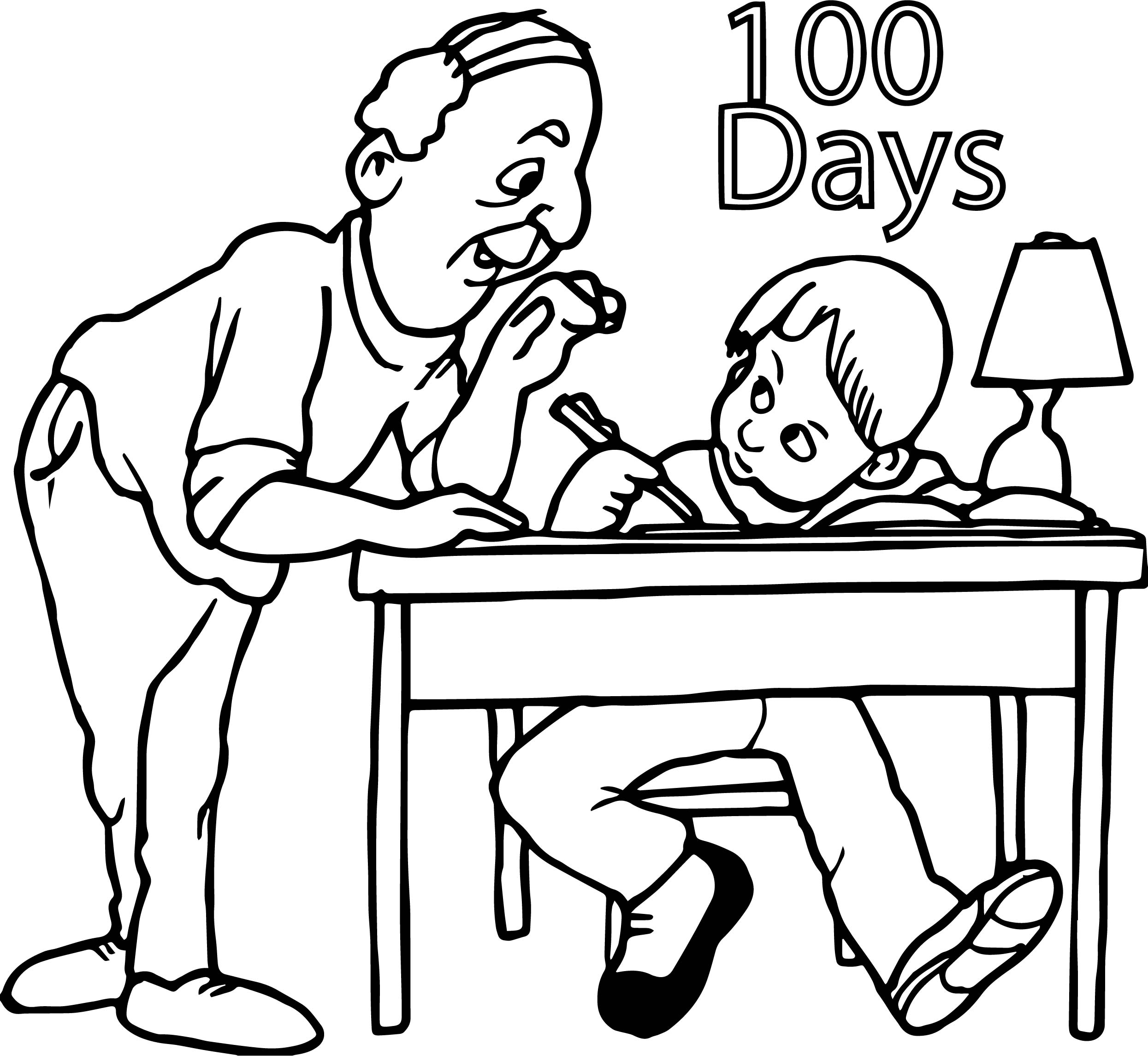 school homework coloring pages | Homework 100 Days Coloring Page | Wecoloringpage.com