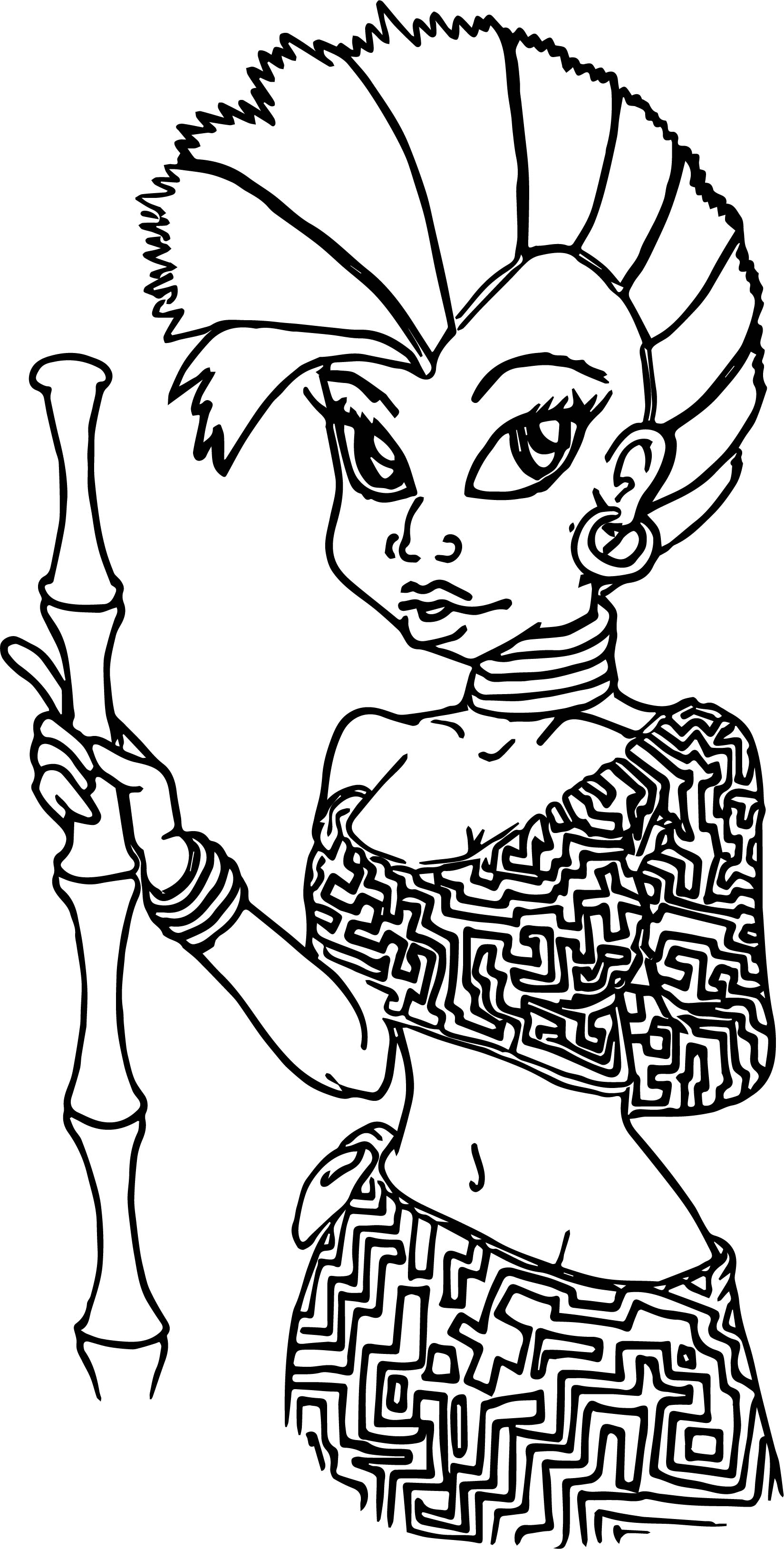Human Zecora Coloring Page