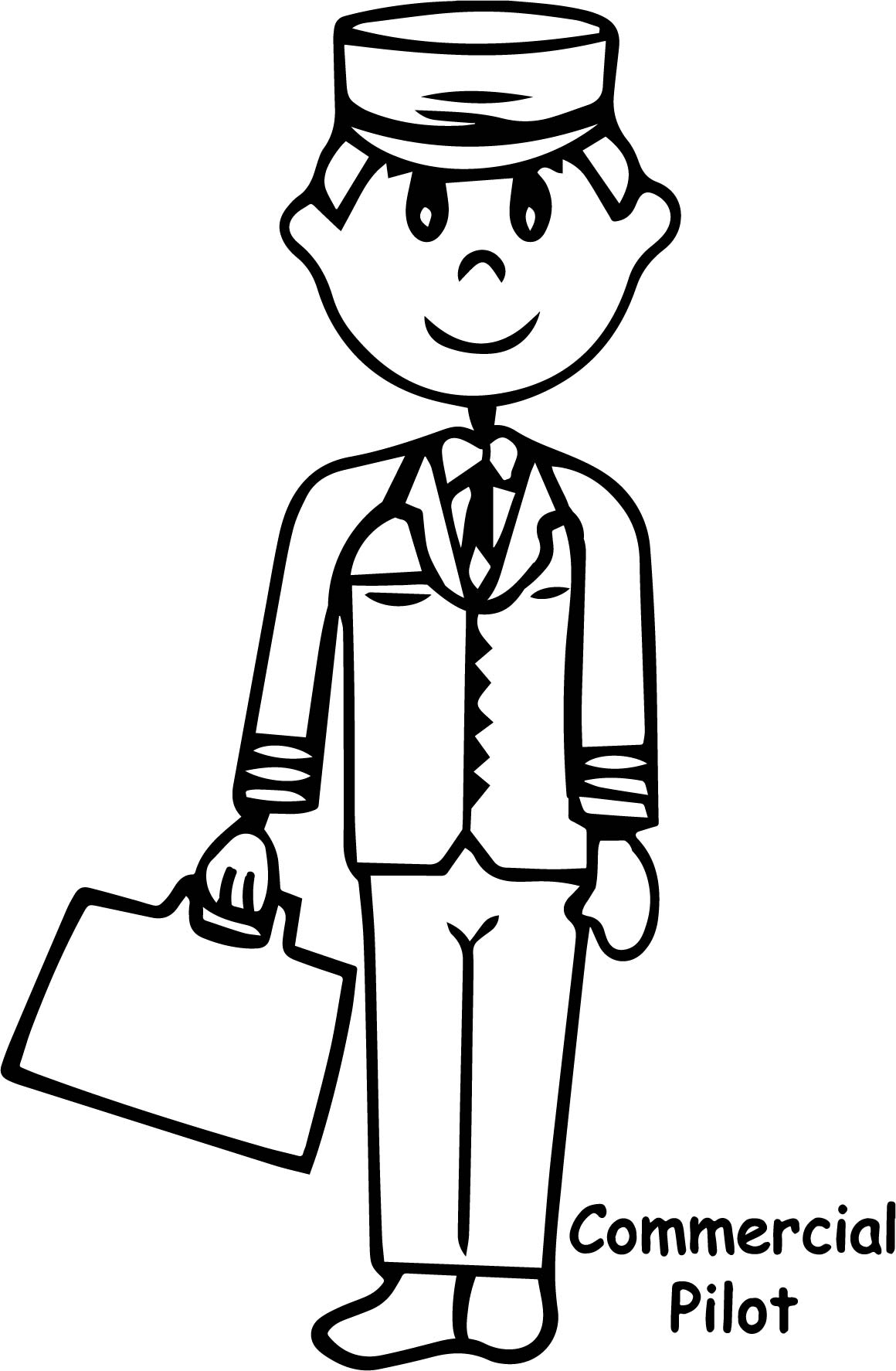 Illustration Of A Commercial Pilot Coloring Page