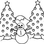 Illustration Of A Snowman And Two Decorated Christmas Trees With A Snowy Coloring Page