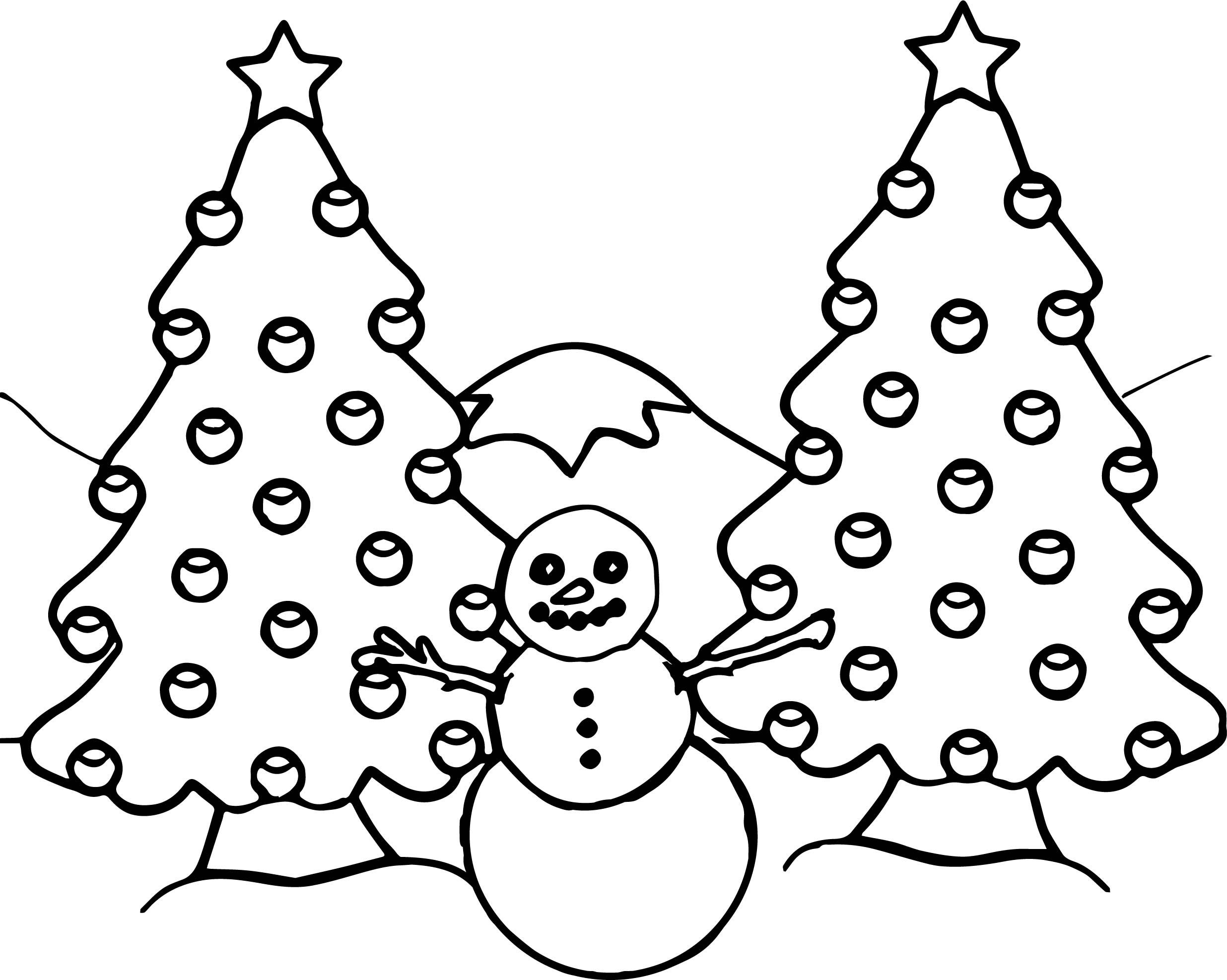 illustration of a snowman and two decorated christmas trees with a