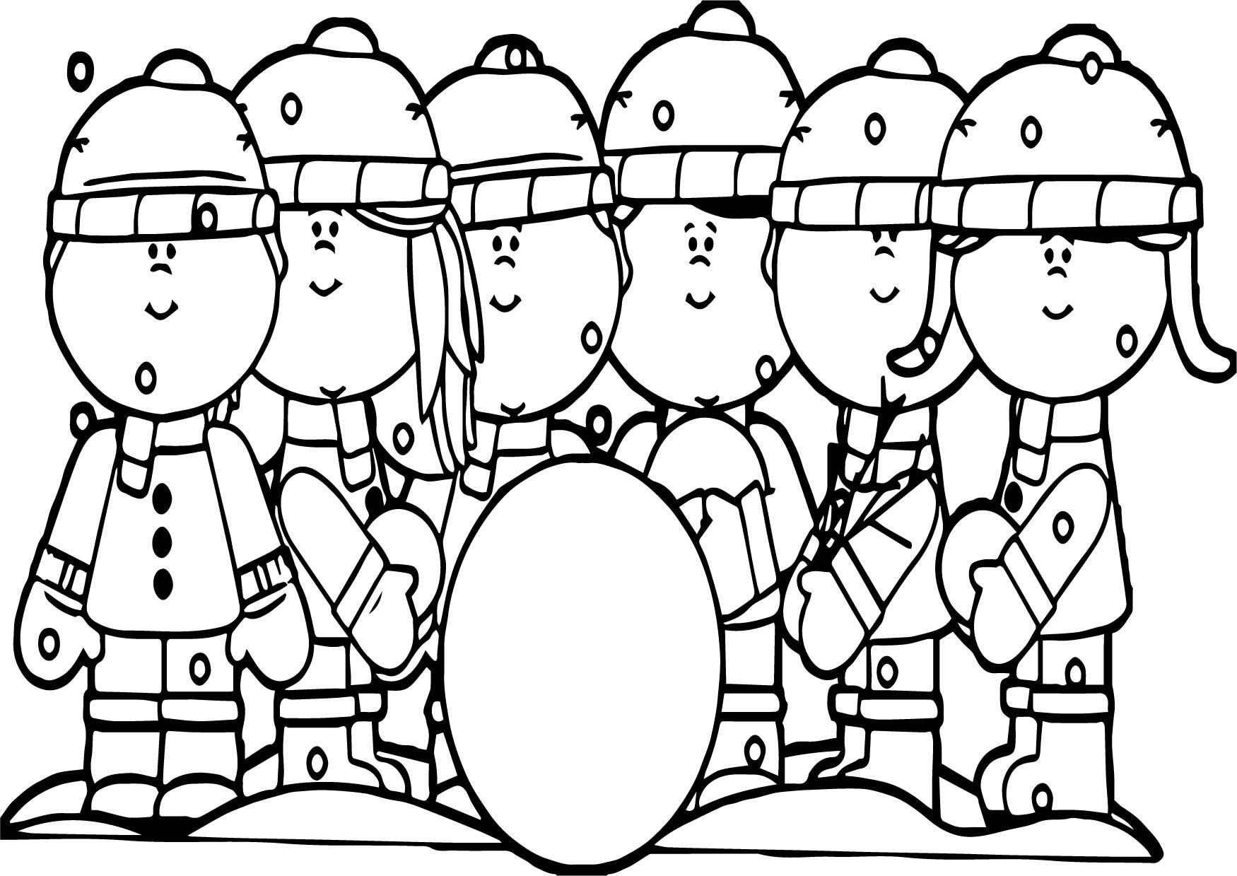 Kids Building A Snowman Coloring Page