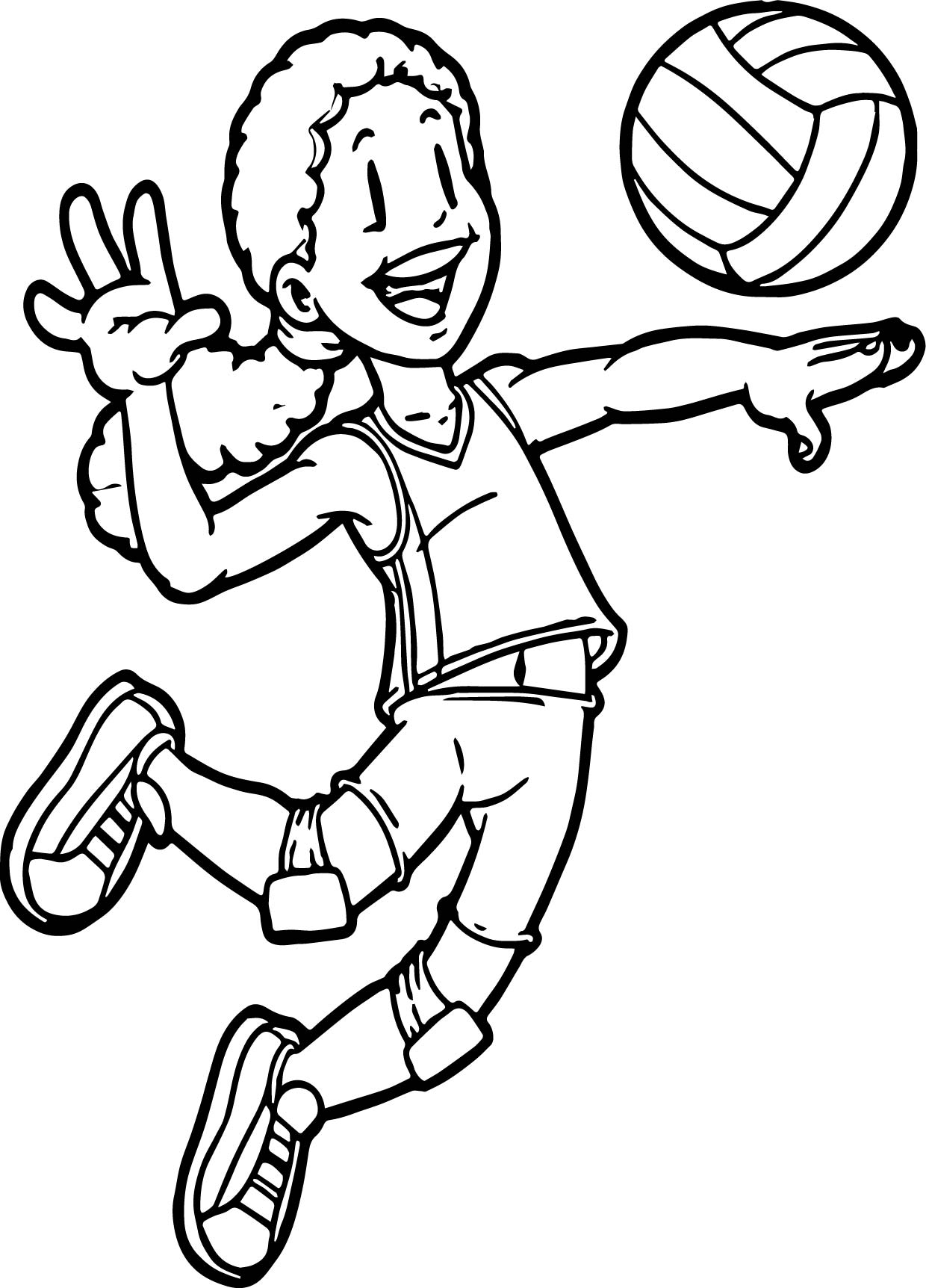 coloring pages sports - kids playing sports volleyball coloring page
