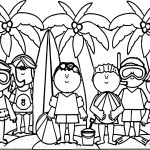 Kids Summer Activities Activity Coloring Page