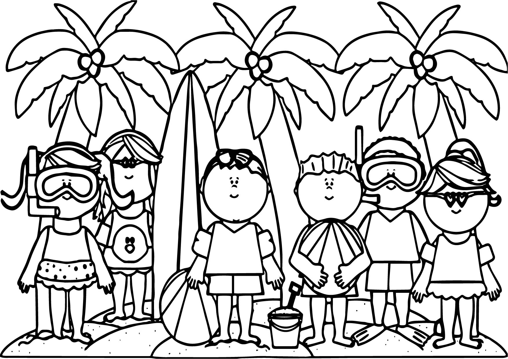 Coloring summer activities - Kids Summer Activities Activity Coloring Page