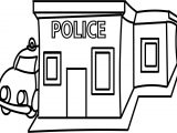 Library Building Black And White Police Station Coloring Page