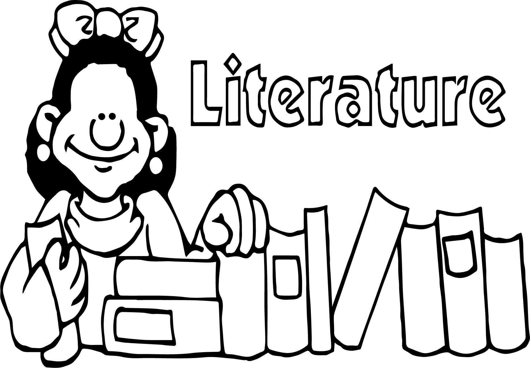 Literature Girl Coloring Page