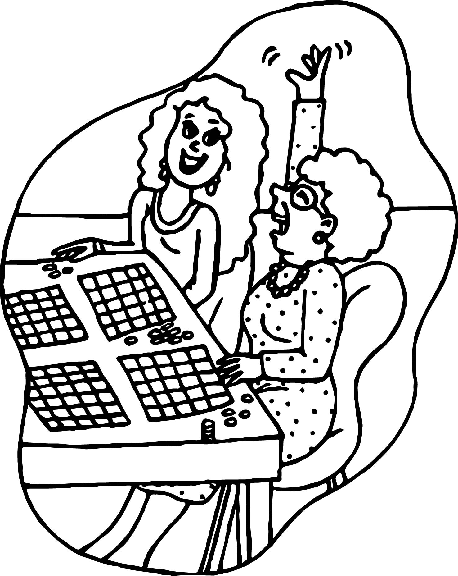 Mother And Girl Activity Coloring Page