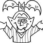 Night Vampire And Bat Coloring Page