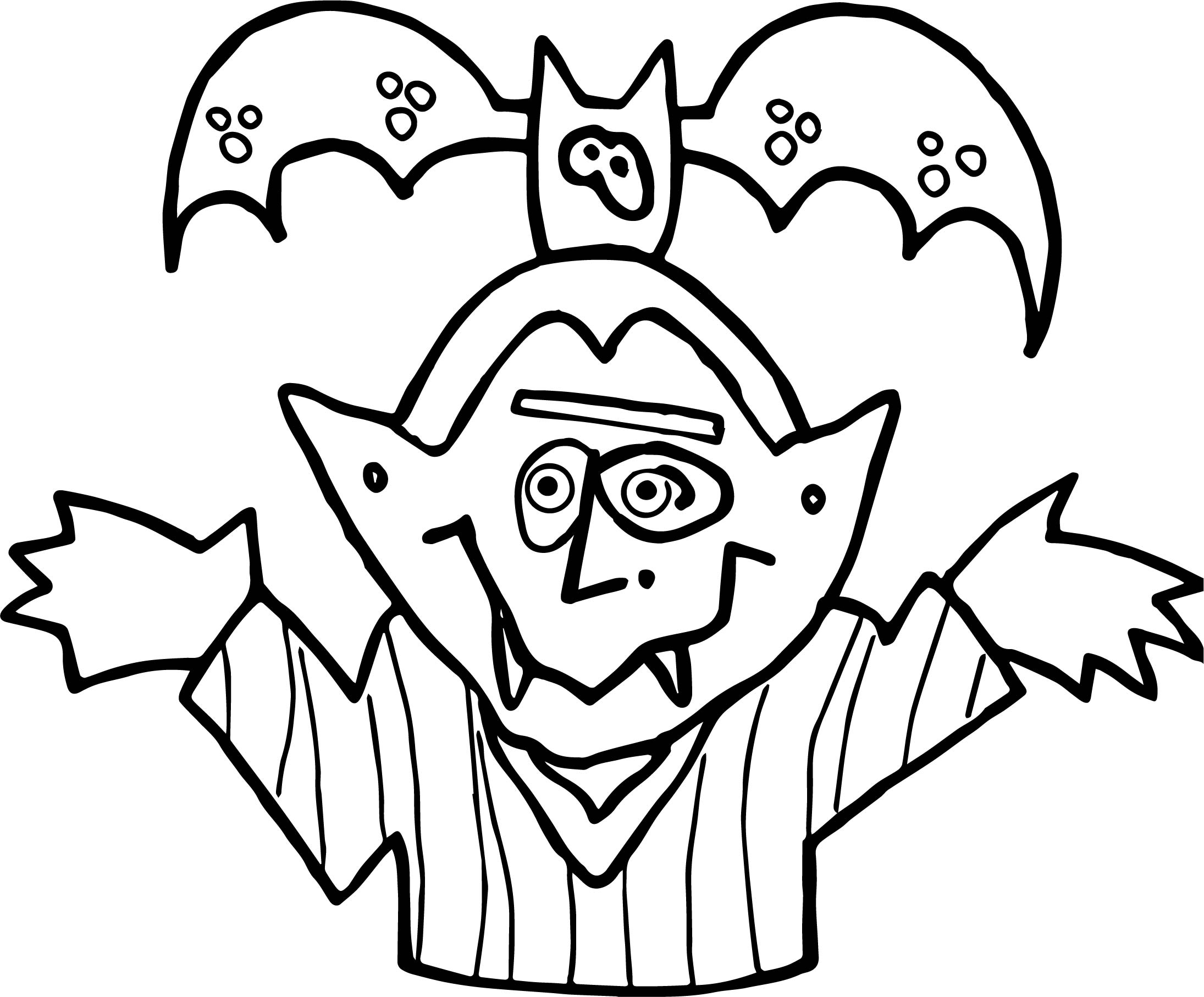 Night Vampire And Bat Coloring Page