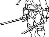 Ninja Turtle Two Blade Leonardo Coloring Page