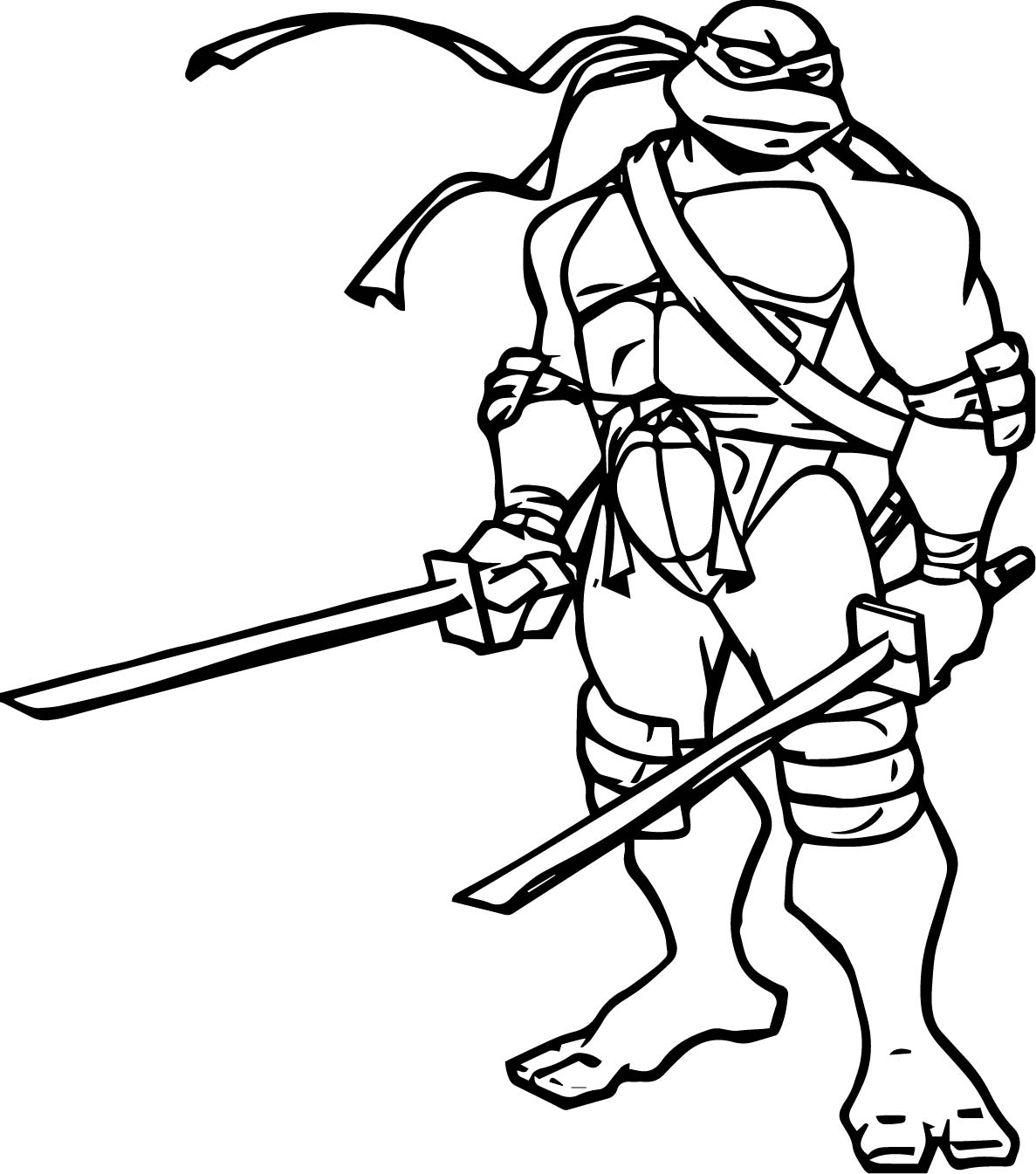 Ninja turtle two blade leonardo coloring page for Coloring pages turtles ninja