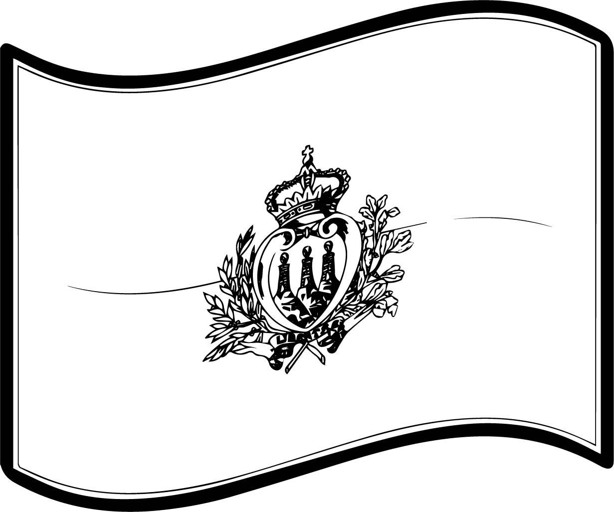 Nuvola Sammarinese Flag Black White Coloring Book