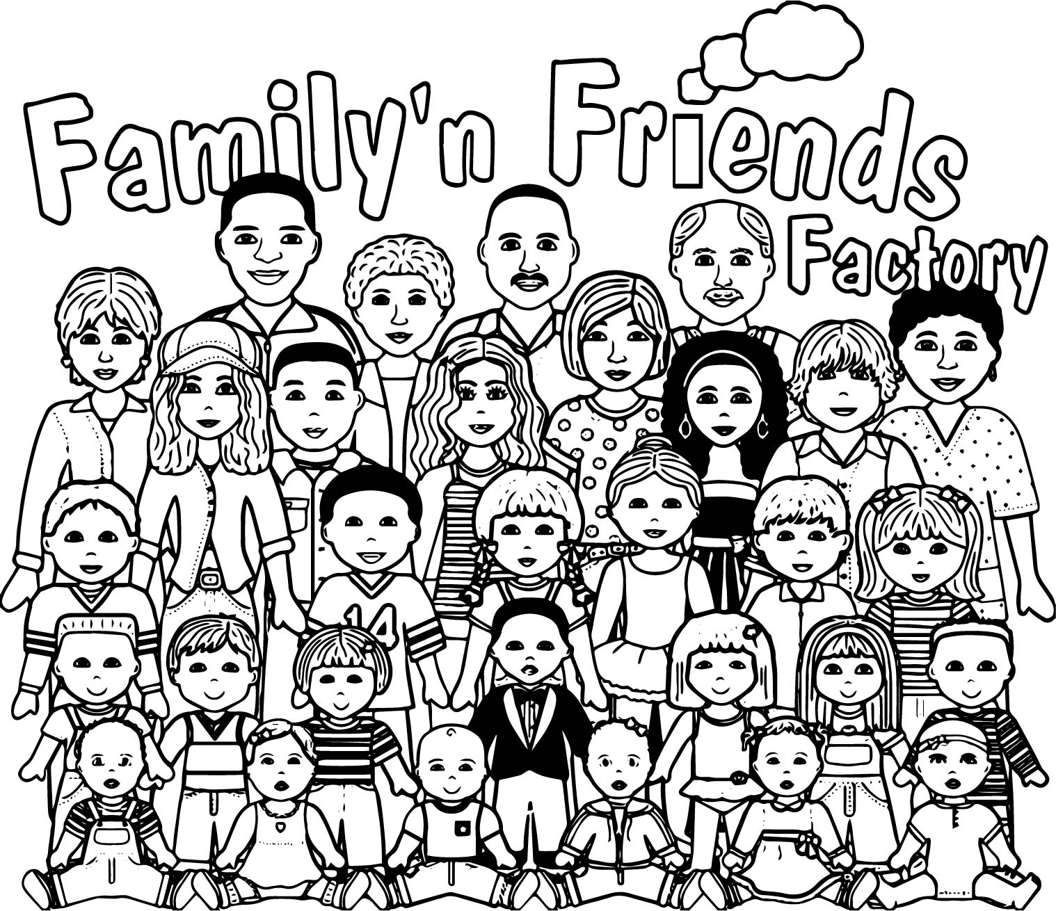 People Graphics Family Friends Factory Teen Girls Edition Coloring Page