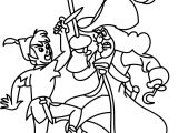 Peter Pan Captain Hook Fight Coloring Page