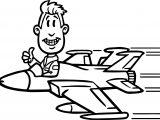 Pilot Man Plane Coloring Page