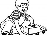 Playing Boy At Toy Car Coloring Page