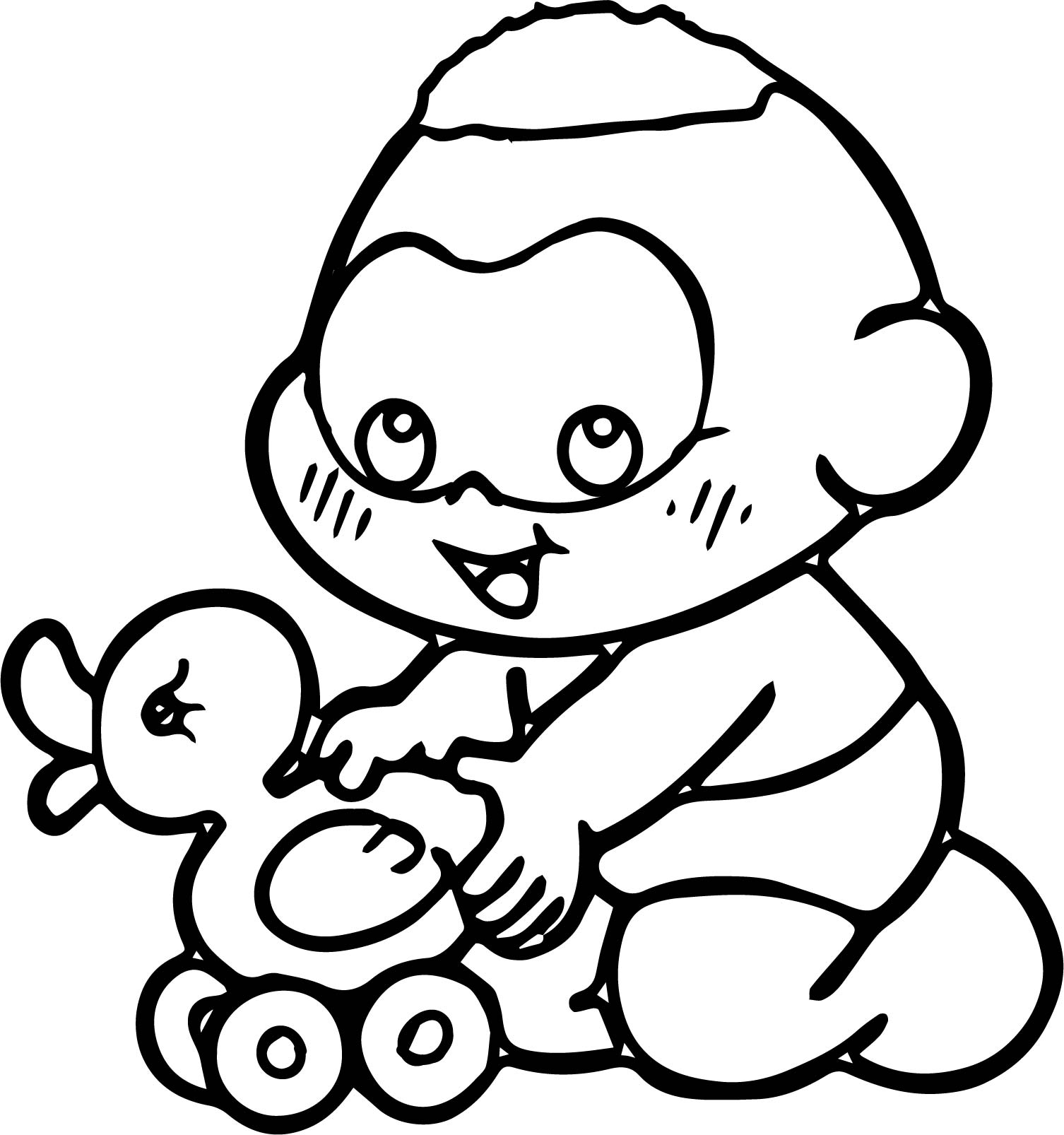Playing Duck Turma Da Monica Baby Coloring Page