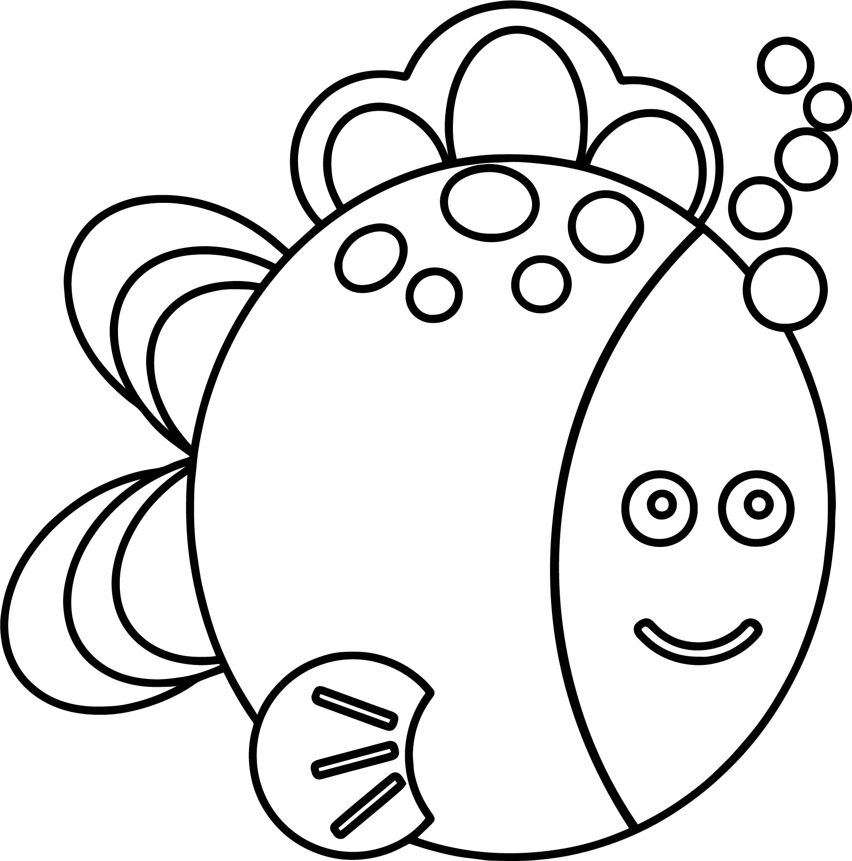 Preschool Fish Coloring Page