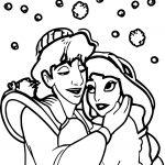 Prince Aladdin And Princess Love Coloring Page