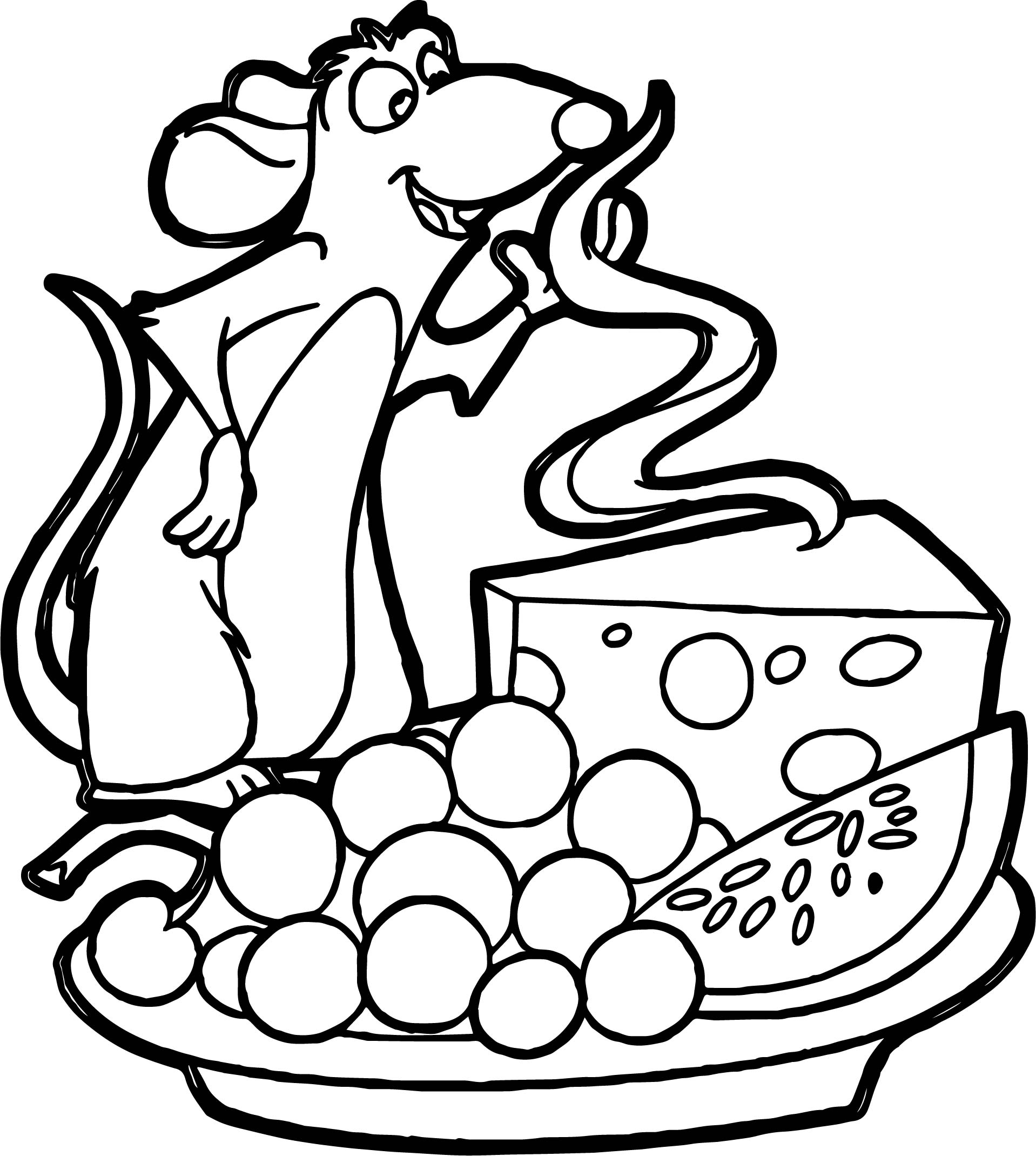 Ratatouille Cheese Grape Watermelon Coloring Page | Wecoloringpage