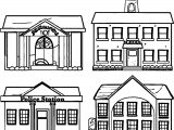 Restaurant School Police Building Coloring Page