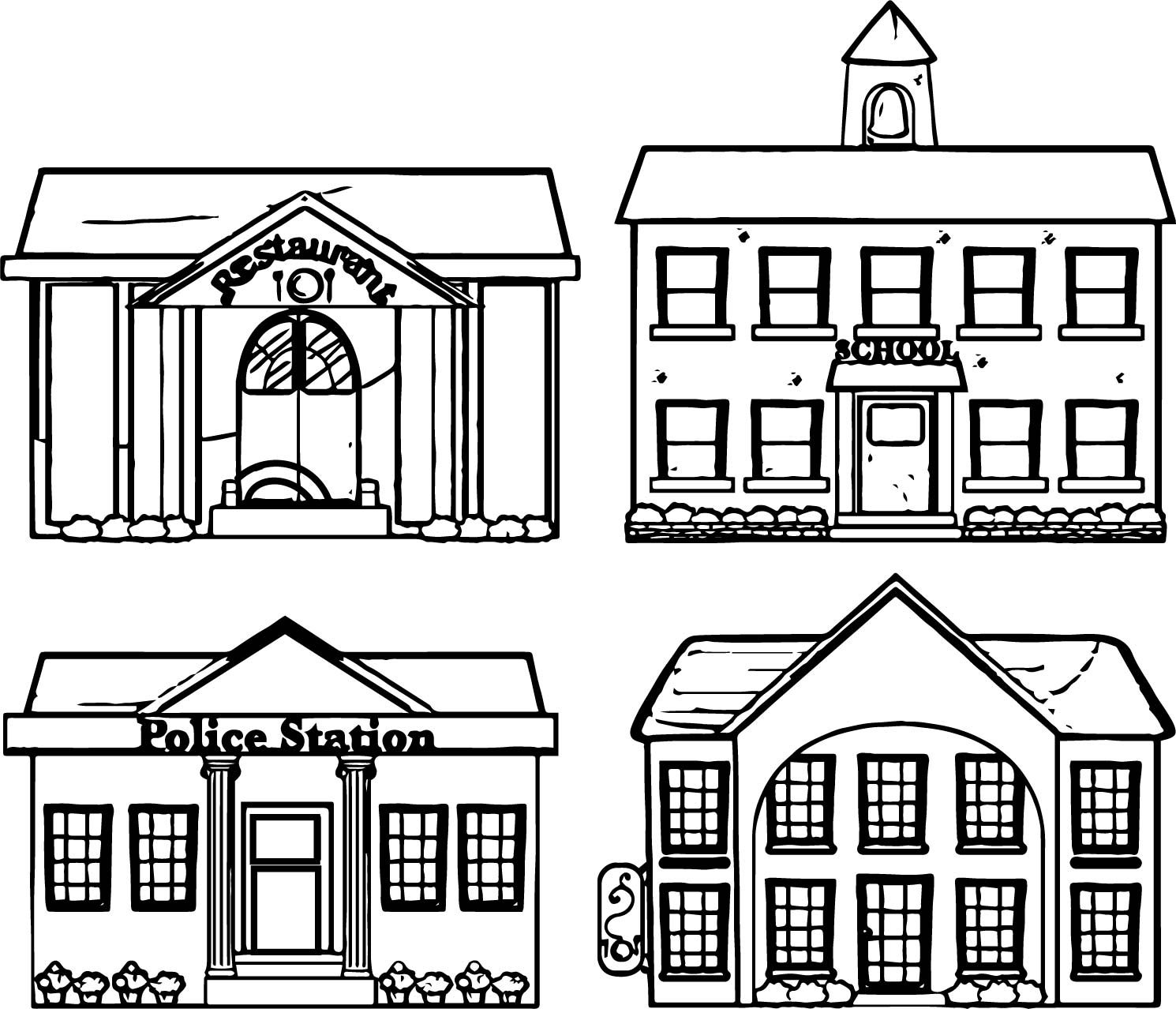 Coloring pages buildings ~ Restaurant School Police Building Coloring Page ...