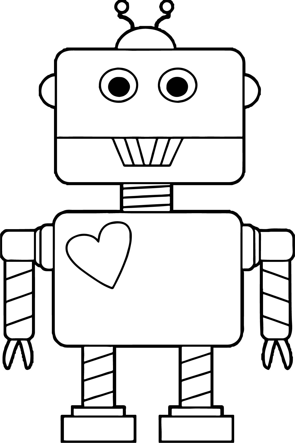 Robot Heart Coloring Page