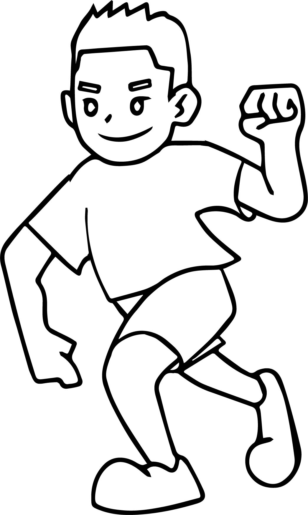 Running And Winner Boy Coloring Page