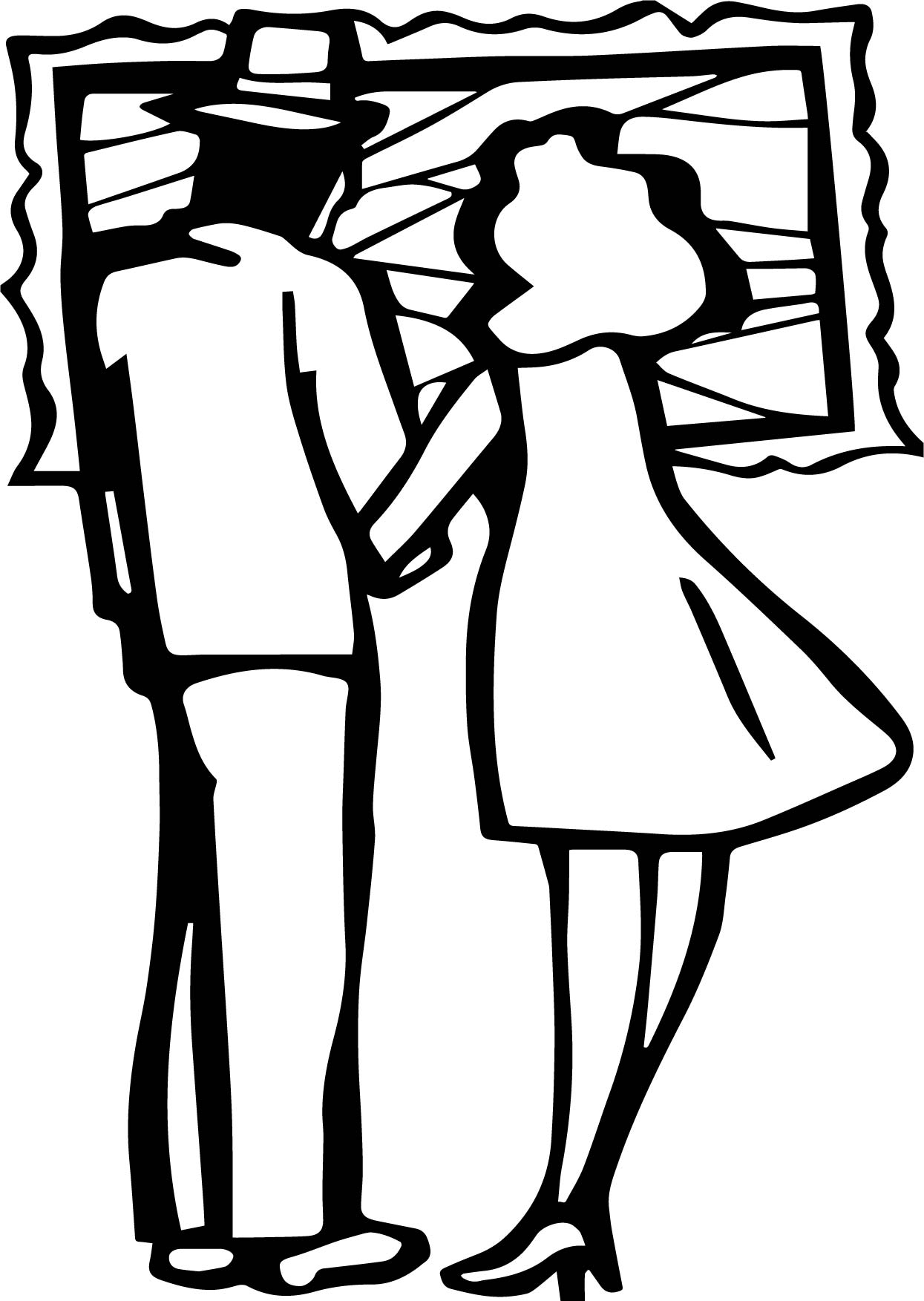See Couple Look Painting Coloring Page