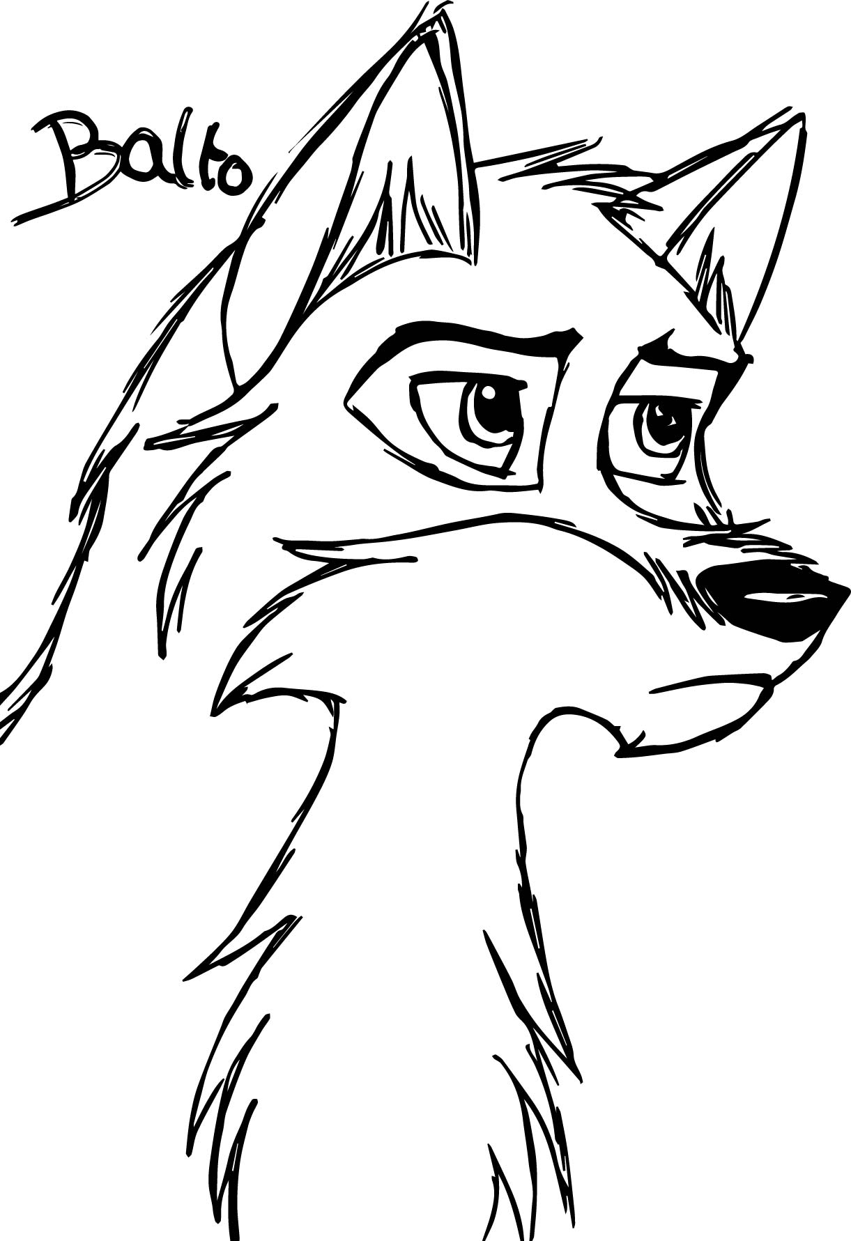 Sketch de balto wolf coloring page for Coloring page of a wolf