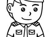 Small Pilot Man Coloring Page