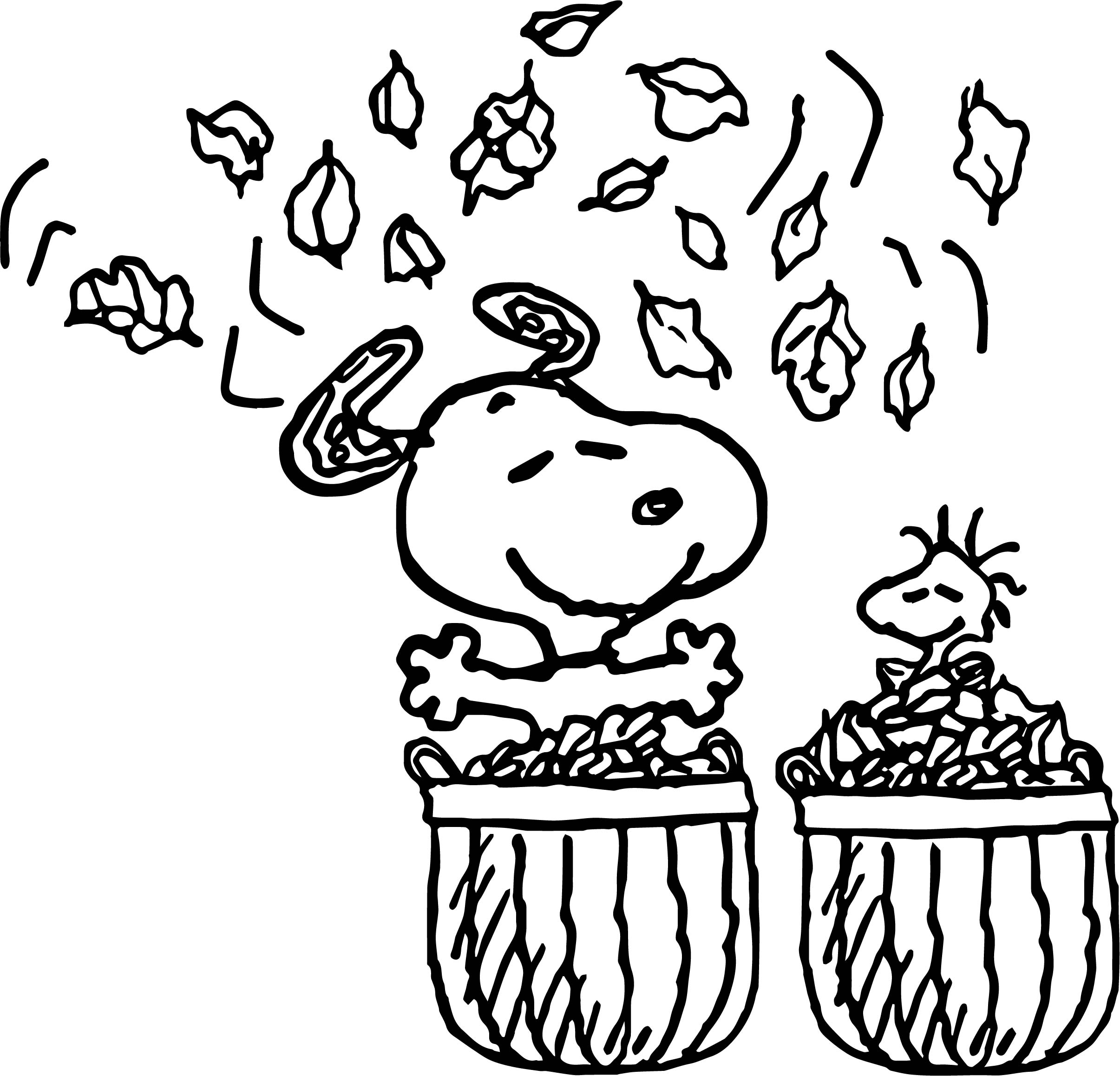 Coloring page autumn - Snoopy Autumn Coloring Page