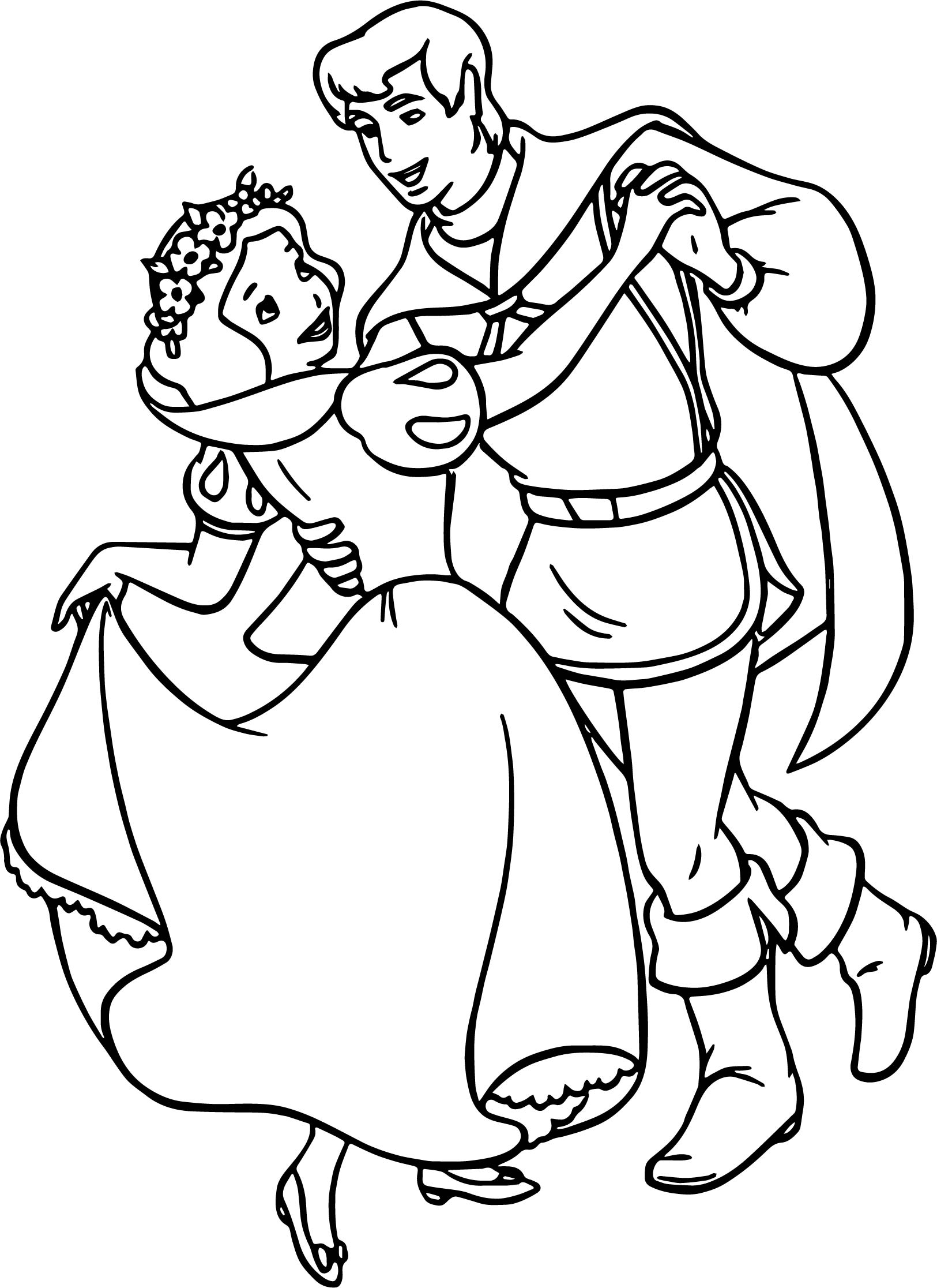 snow white and the prince dance coloring page wecoloringpage