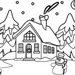 Snowman House Coloring Page