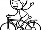 Stick Figure Boy Cycling Riding Biycle Coloring Page