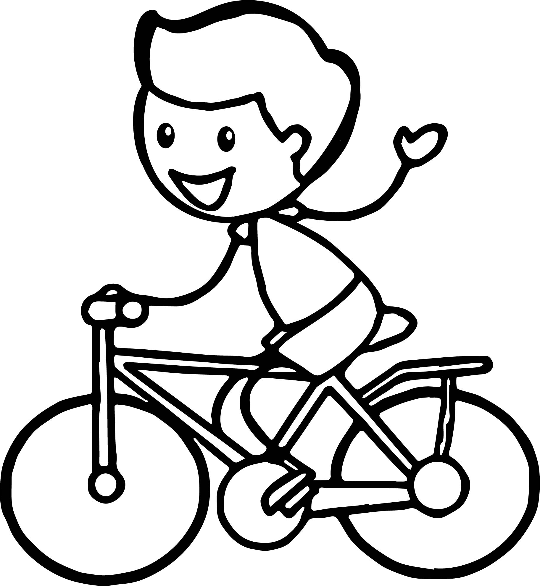 stick figure boy cycling riding biycle coloring page wecoloringpage