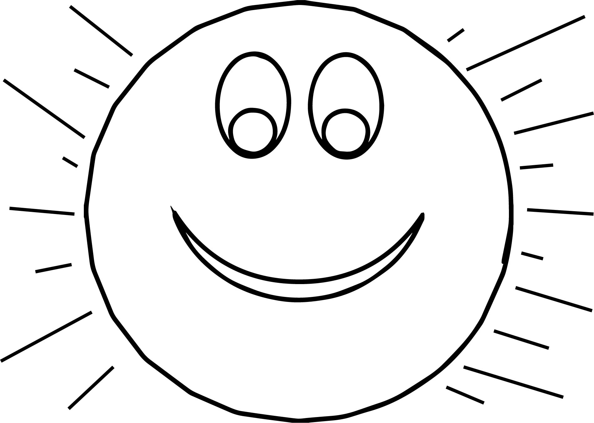 Sun Smiley Coloring Page