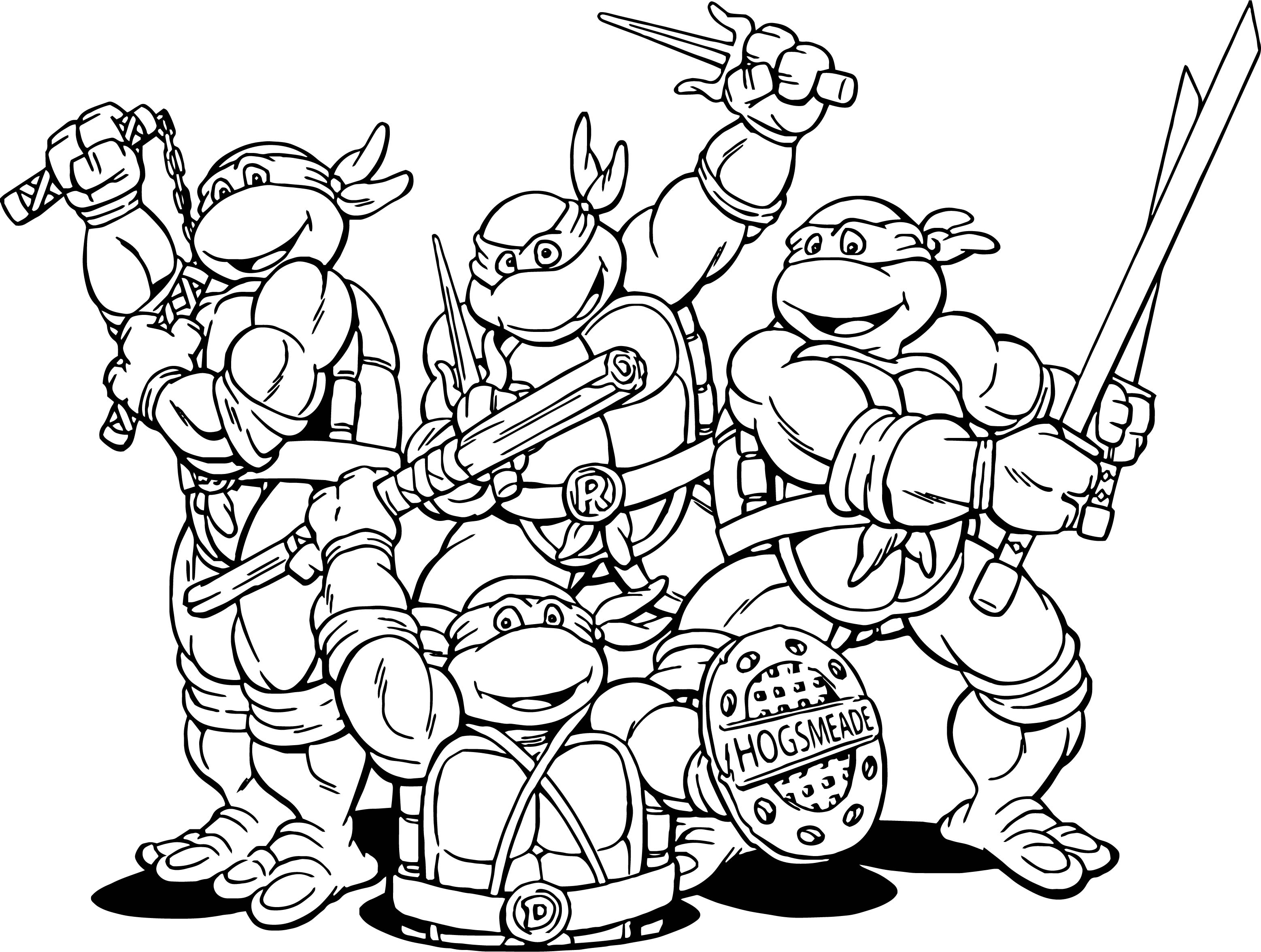 Teenage mutant ninja turtles cartoon coloring page for Coloring pages of ninjas