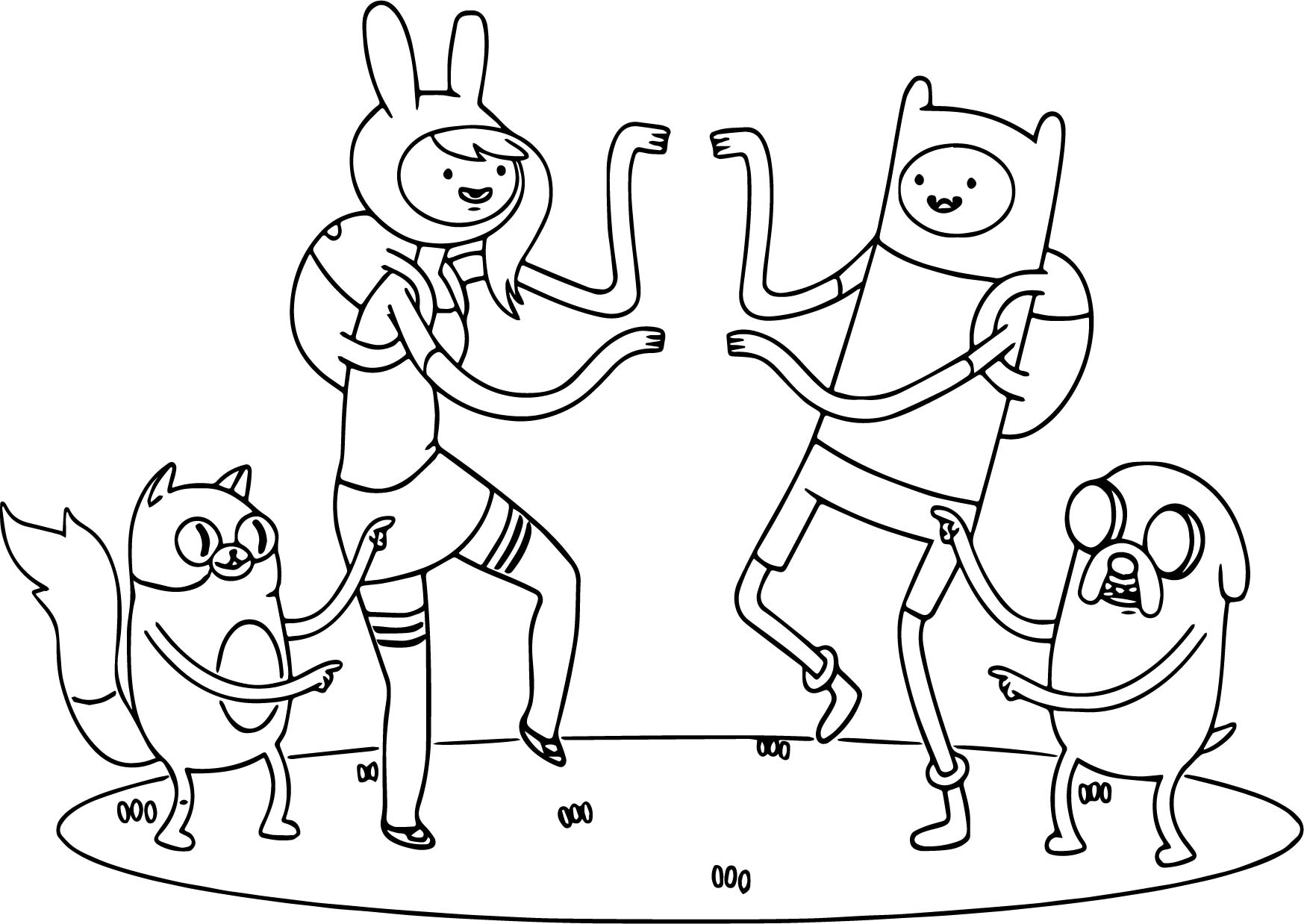Threadless Adventure Time Team Dance Coloring Page | Wecoloringpage.com