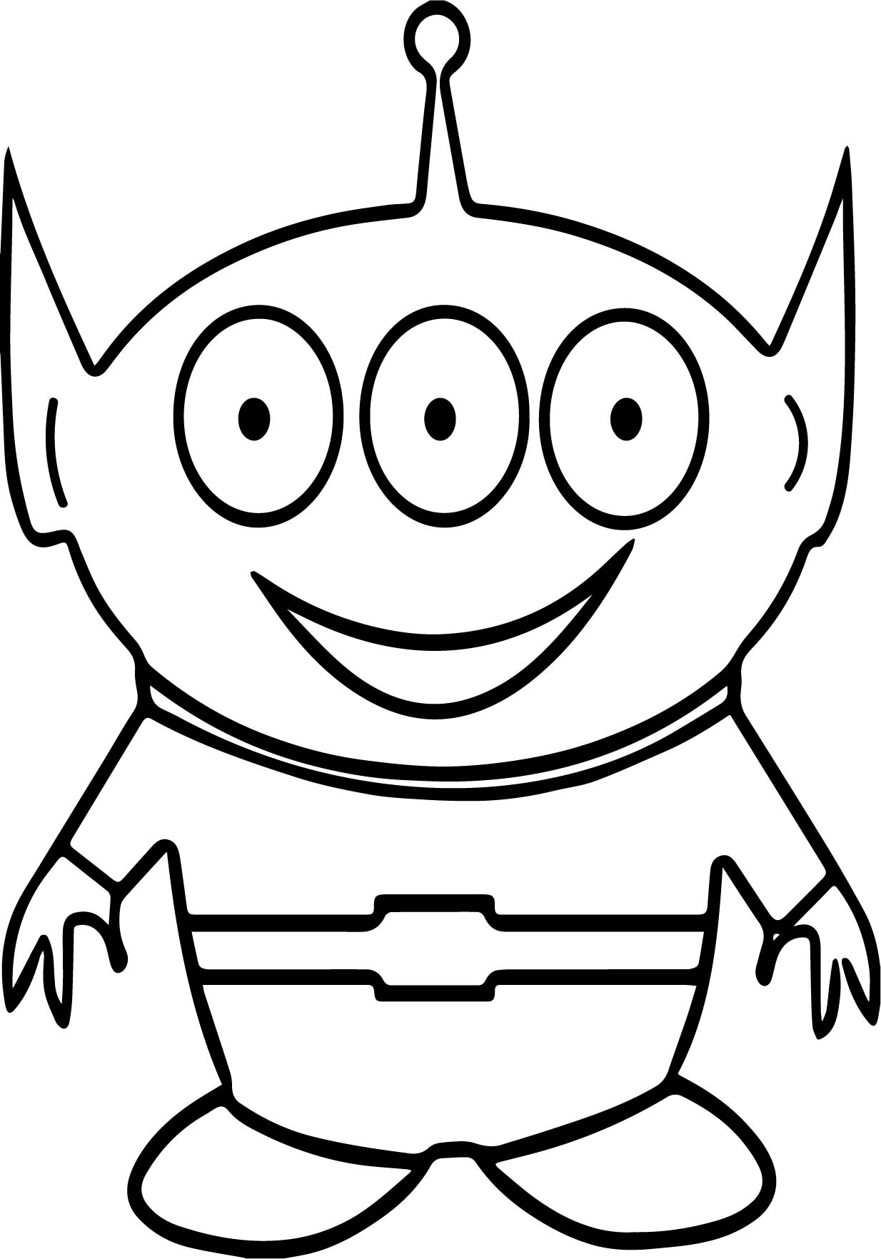 Three Eye Cute Alien Coloring Page