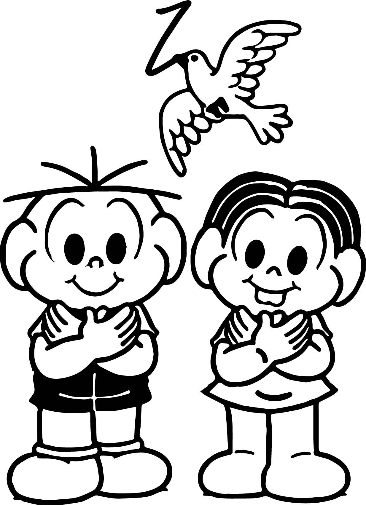 Turma Da Monica Kids And Bird Coloring Page