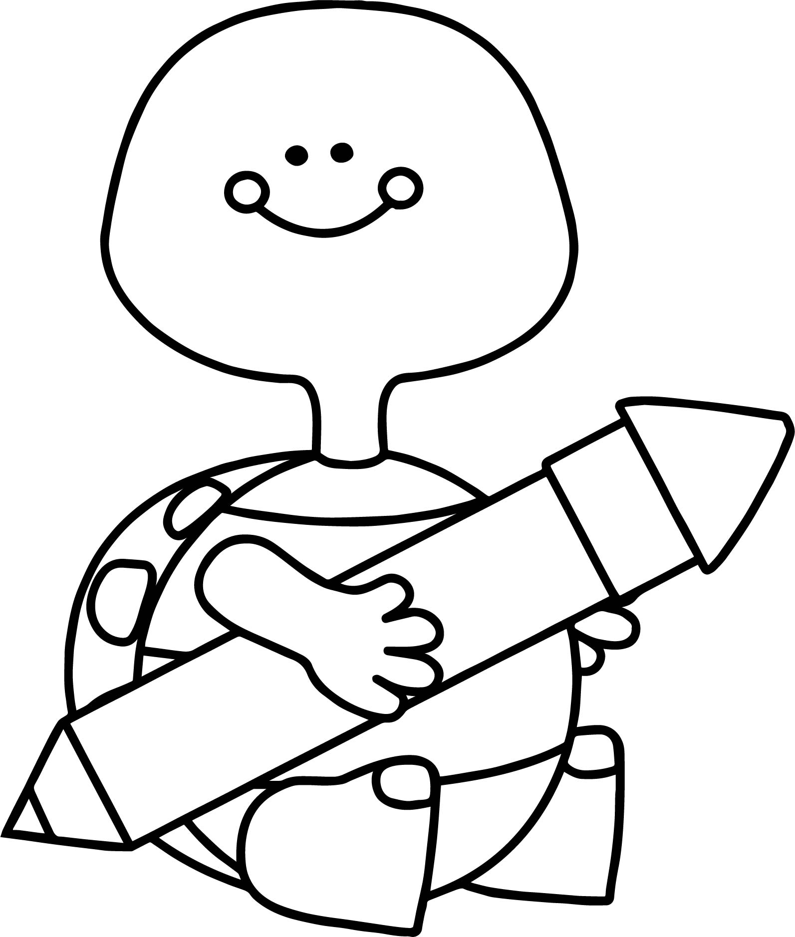 turtle holding pen coloring page wecoloringpage