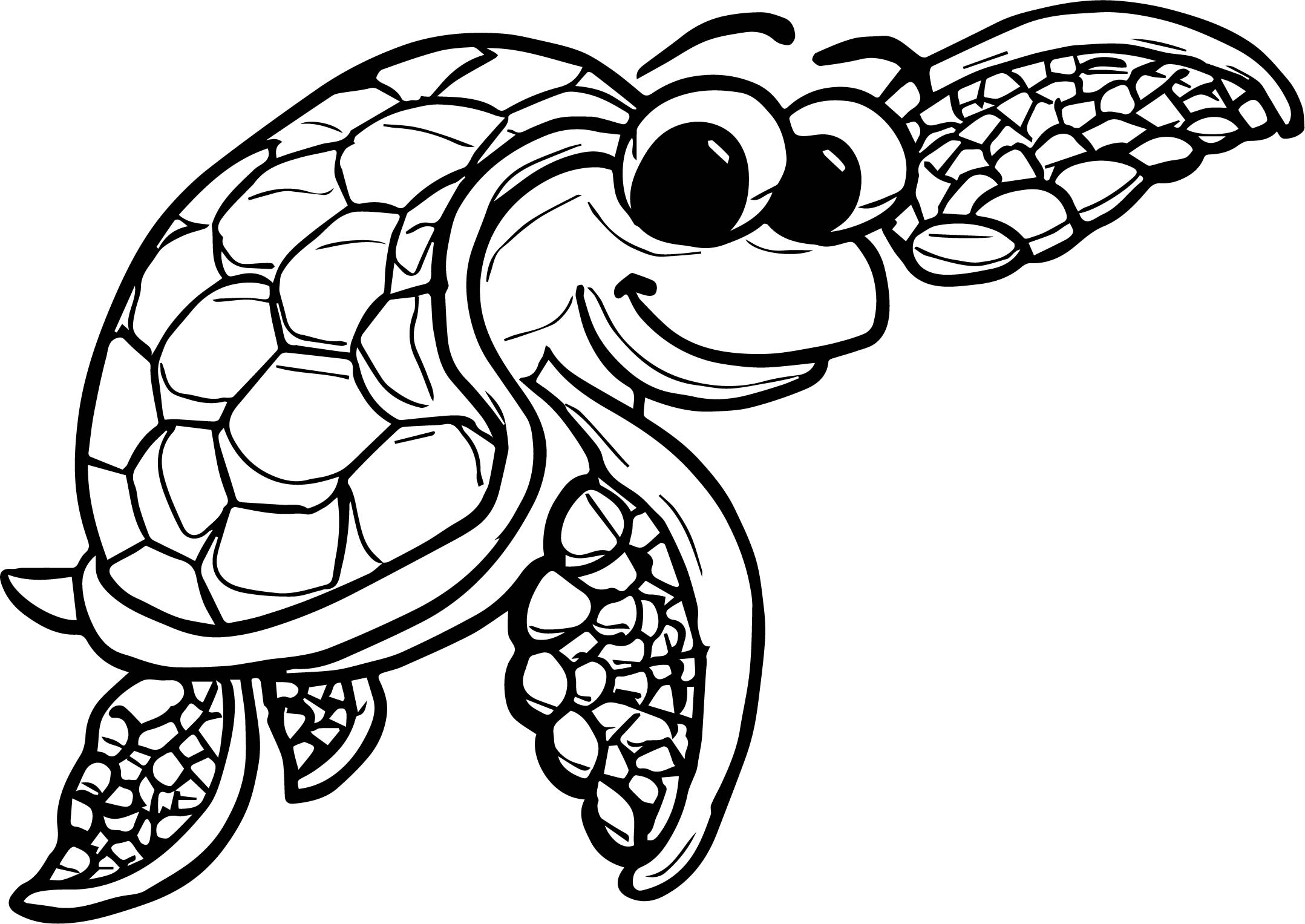 Underwater tortoise turtle coloring page for Turtle coloring pages