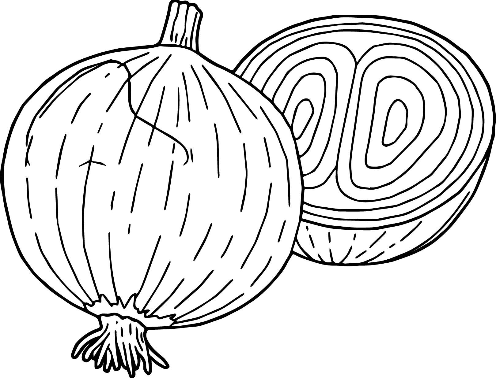 Vegetables Onion Coloring Page