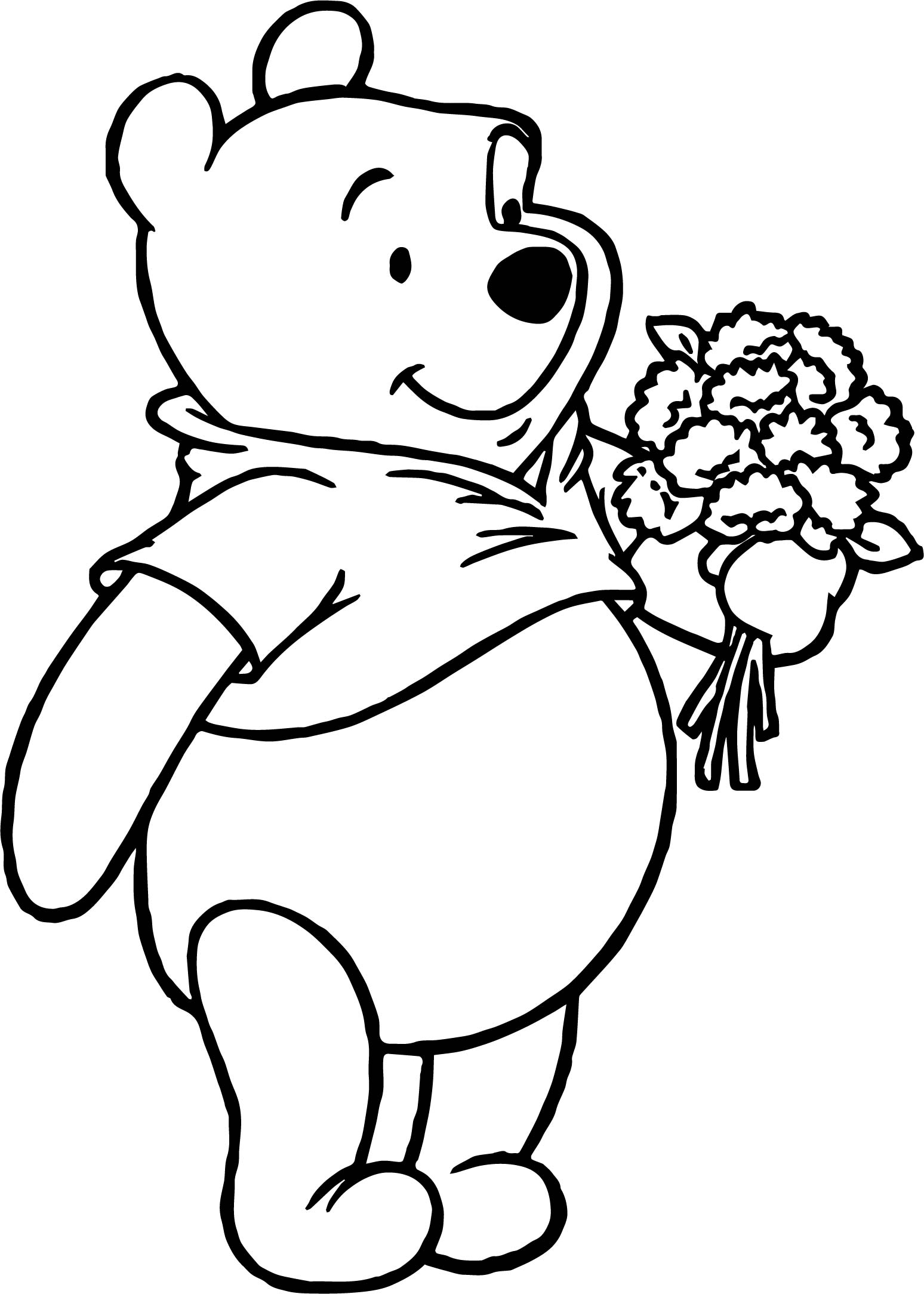 Winnie The Pooh Flower Coloring Page Wecoloringpage