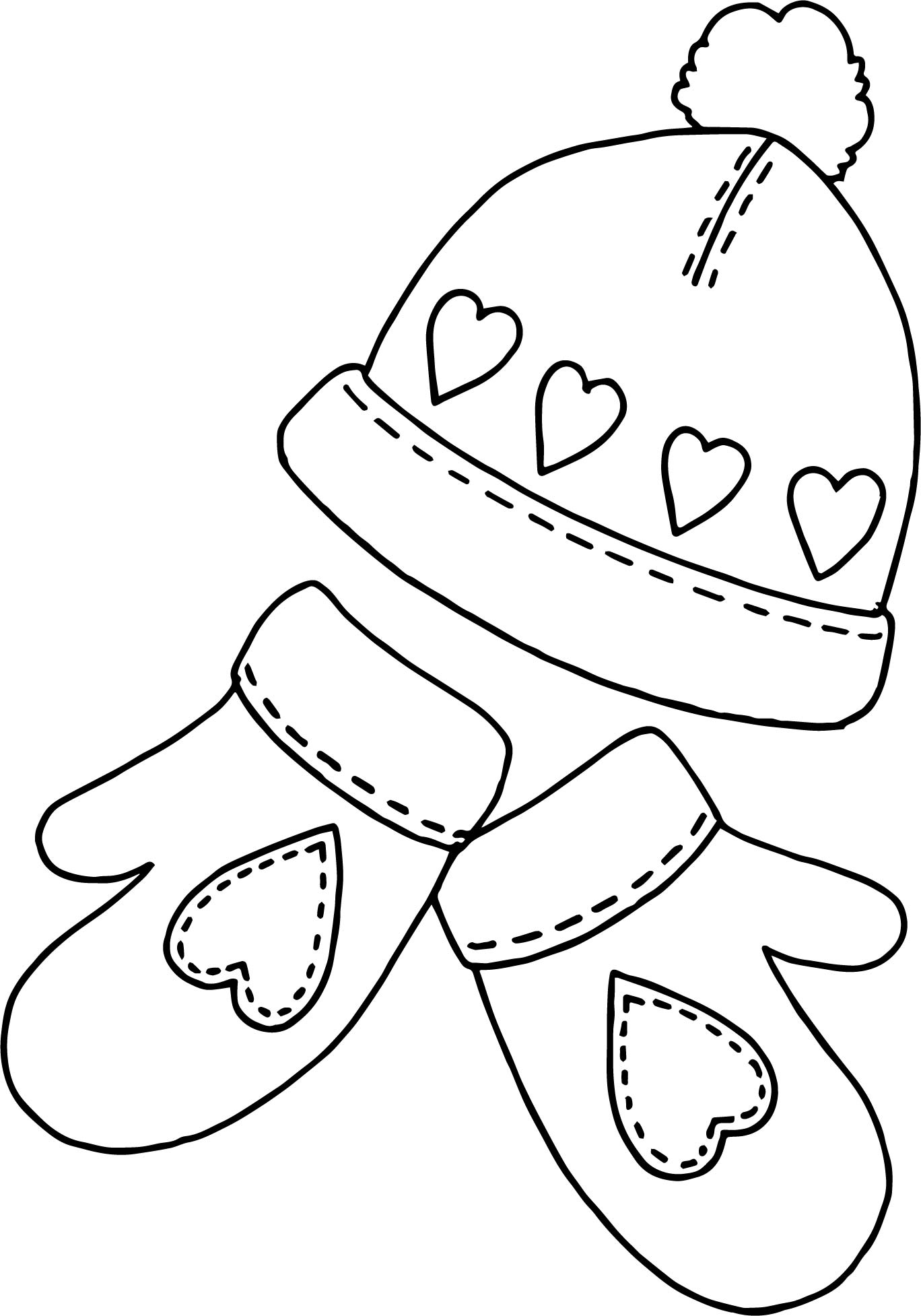 Winter Hat Sholves Coloring Page | Wecoloringpage