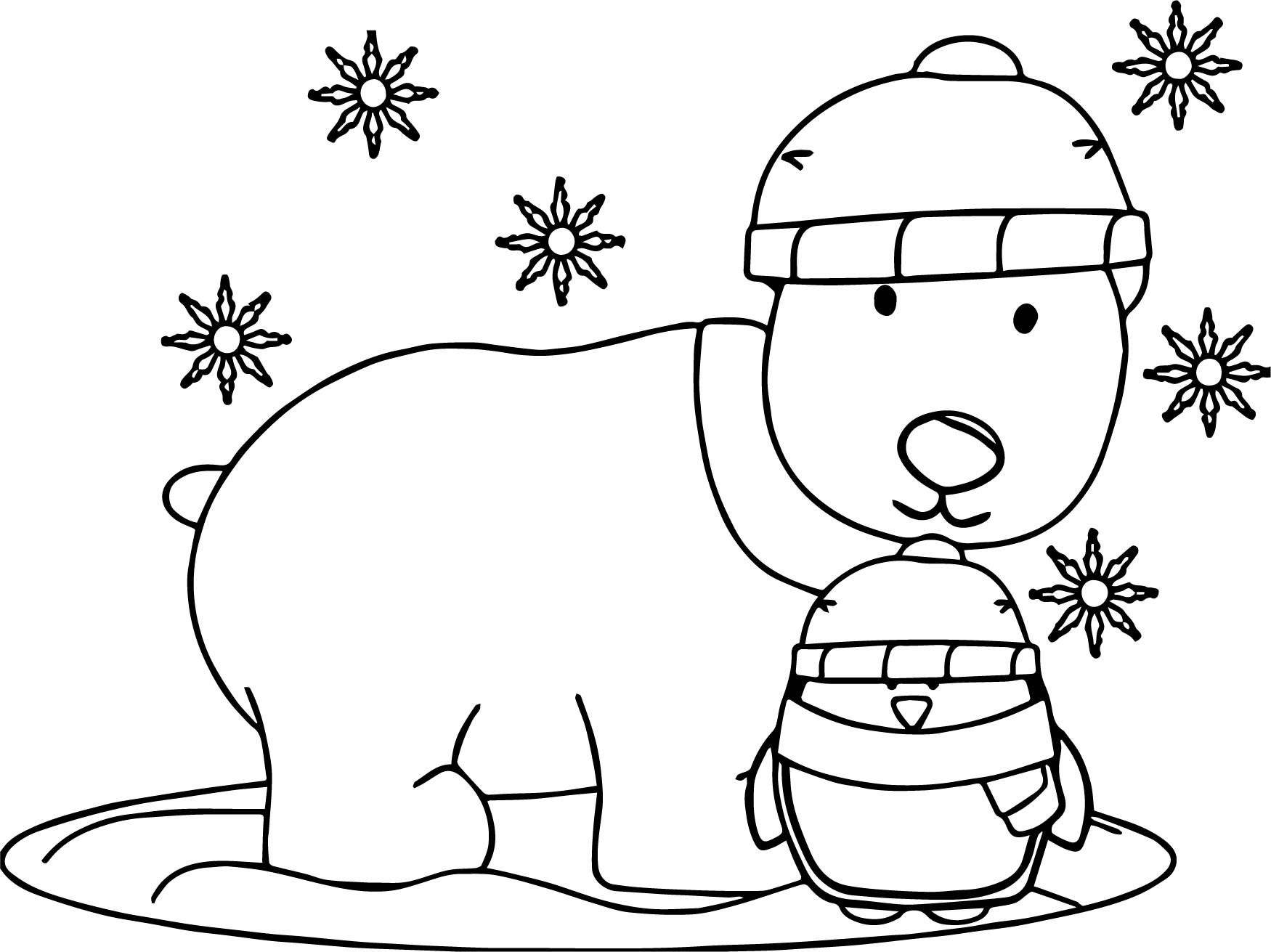 Winter Penguin And Dog Coloring Page